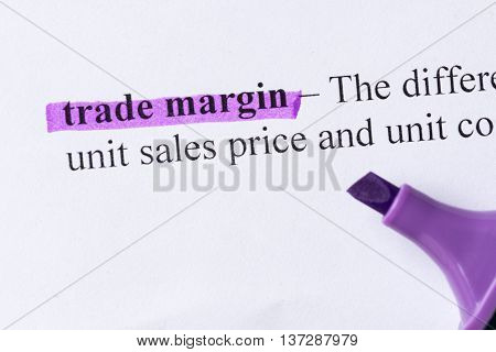 Trade Margin Word Highlighted