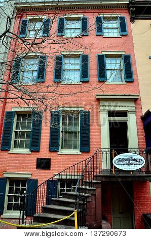 Washington DC - April 11 2014: The Petersen House across the street from Ford's Theatre in which President Lincoln died on April 15 1865 *