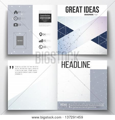 Set of annual report business templates for brochure, magazine, flyer or booklet. Polygonal backdrop with connecting dots and lines, connection structure, blue background. Digital or science vector poster