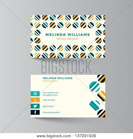 Business card template. Vector illustration. Turquoise and yellow layout. Clean modern business card design with colorful circles