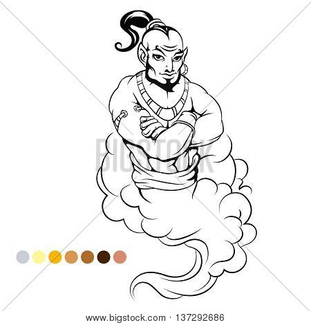 Coloring page genie and color samples vector illustration