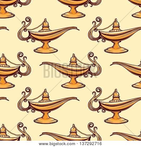 Seamless pattern of gold magic aladdin lamp. Vector illustration