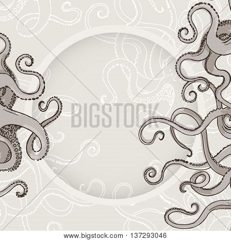 Hand drawn sketch of monster octopus. Border of feelers. Vector illustration for cards.
