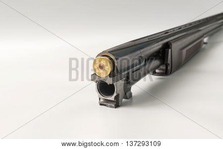 barrel shotgun loaded twelfth caliber cartridges close up