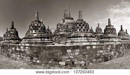 Buddist temple Borobudur. in Yogyakarta. Java Indonesia