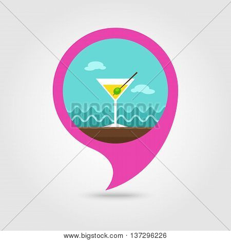 Martini. Cocktail vector pin map icon. Beach Map pointer. Summer Map markers. Summertime. Vacation eps 10