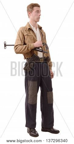 young French Resistance vintage clothes and weapons reenactment