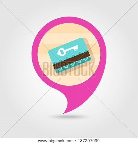 Electronic keycard vector pin map icon. Key card. Travel Map pointer. Summer Map markers. Summertime. Vacation eps 10