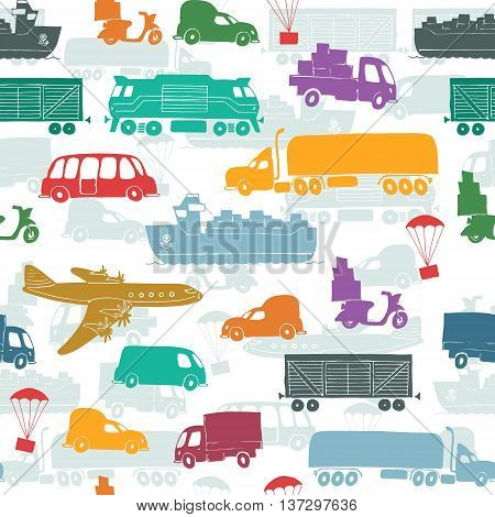 Seamless pattern with types of transport delivery delivery ways and logistics in business and industry with scooter bus trucks airplane railway seaway cargo ship and other.