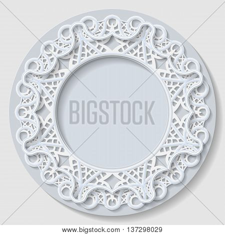 3D round frame vignette with ornaments lace frame bas-relief ornament festive pattern white pattern template greetings vector