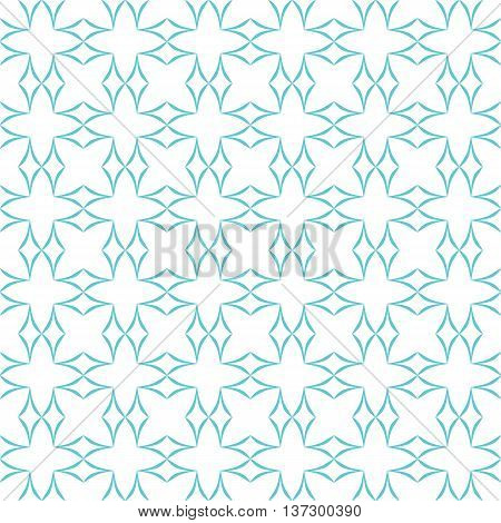 Abstract geometric pattern. Lattice of light blue curved diamonds on white background. Seamless repeat.