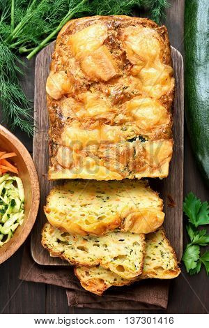 Vegetable moist bread with zucchini carrot cheese eggs top view