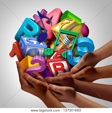 Group education partnership and community cooperation learning concept as a team of ethnic or diverse people joining together to suport symbols of school and teamwork training for students with 3D illustration elements.