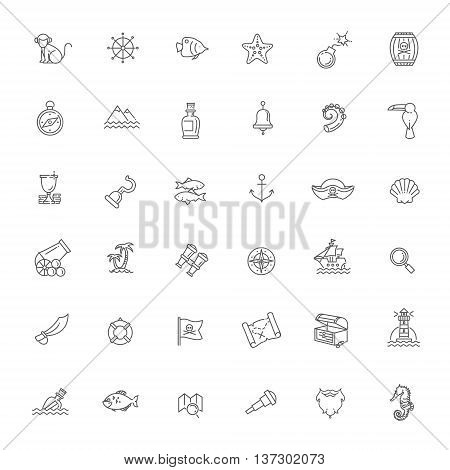 Pirates icons set . Outline vector icon set