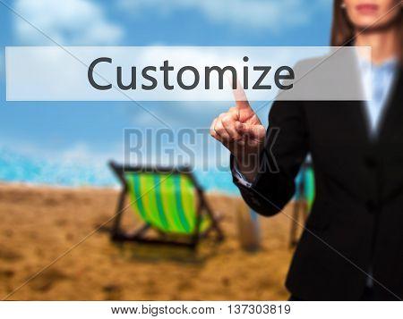 Customize - Female Touching Virtual Button.