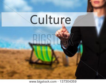 Culture - Female Touching Virtual Button.