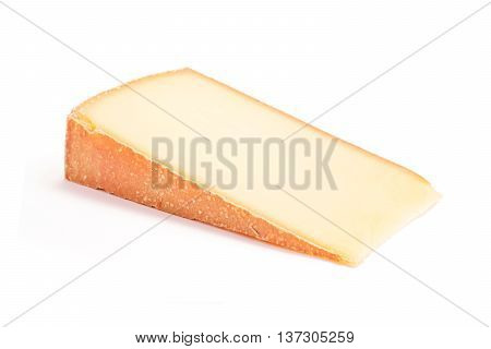strong flavor cheese slice isolated on white