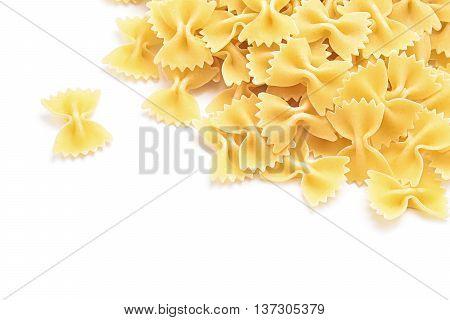farfale italian pasta isolated on white background
