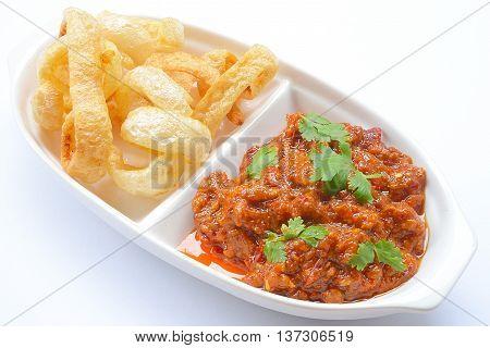 Thai Northern Style minced Pork and Tomato Relish paste dip