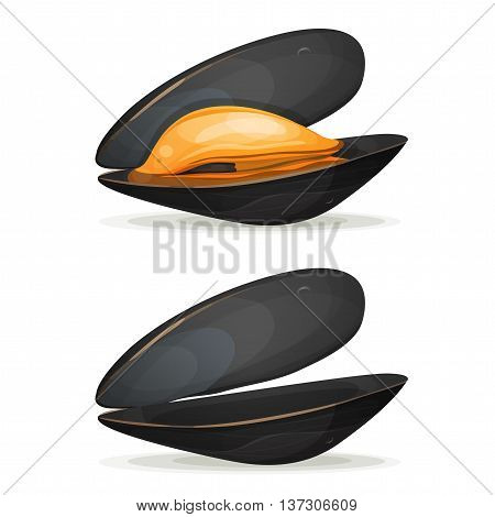 Illustration of a cartoon appetizing mussel boiled with shell full and empty