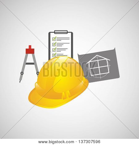industry construction plan with helment vector illustration