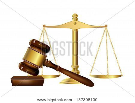 wooden justice gavel and scales. vector illustration