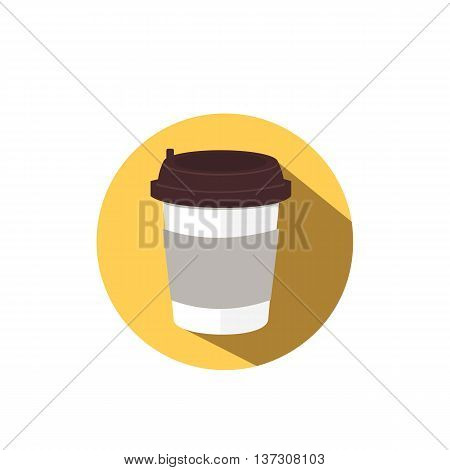 Coffee flat icon with long shadow. Vector food illustration.