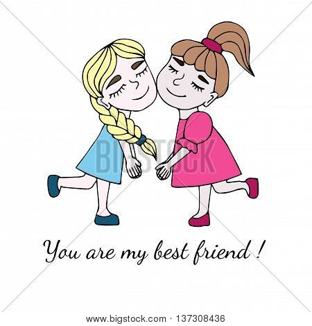 Two best friends together with inscription You are my best friend isolated on the white background. Vector illustration about friendship.