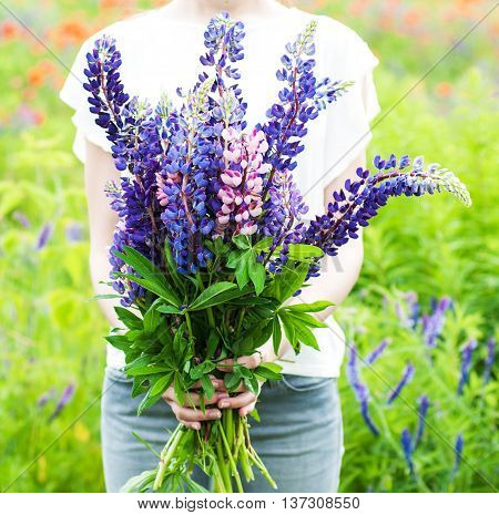 Woman Holding A Bouquet Of Field Lupine