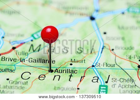 Aurillac pinned on a map of France