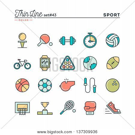 Sports recreation work out equipment and more thin line color icons set vector illustration