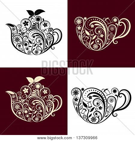 Vector Floral Ornamental Teapot and Cup Set. Zen art teapot and cup style. Element for menu, cafe, restaurant, bar and tea house designs. Black and beige teapot and cup flower design