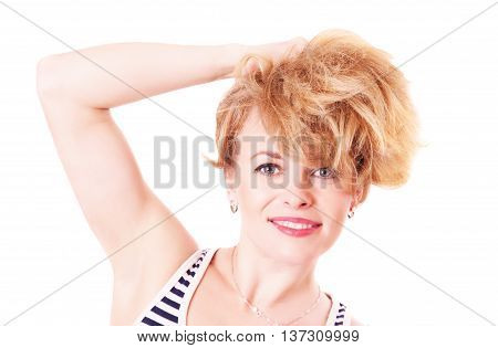 Cheerful Funny Woman With Shaggy Hair