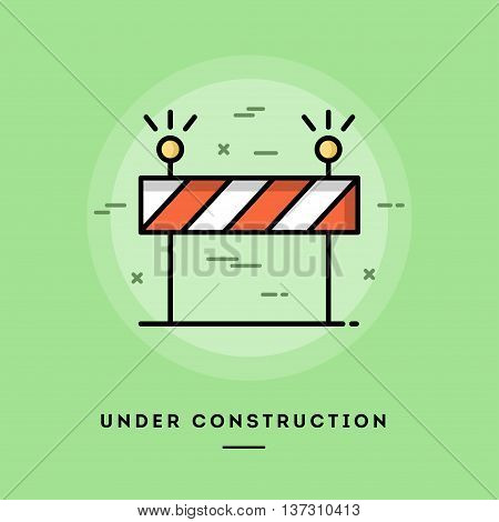Under construction flat design thin line banner usage for e-mail newsletters web banners headers blog posts print and more