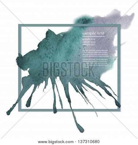 Vector watercolor ink spot. Blue wet brushstroke on canvas texture. Dry brush strokes. Abstract composition for design elements. Blue colorful vector abstract brush stroke and splatter background