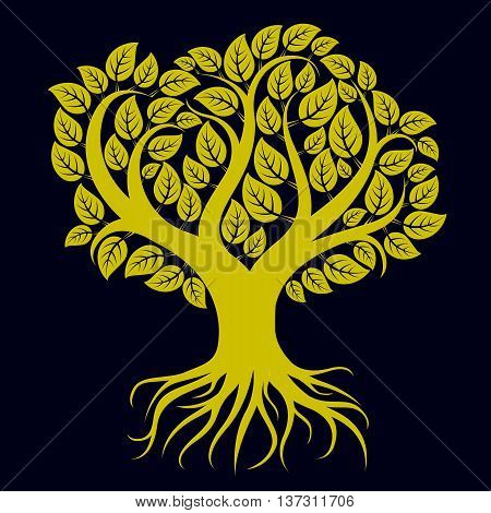 Vector art illustration of branchy tree with strong roots. Tree of life symbolic graphic image environment conservation theme. poster