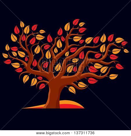Art Illustration Of Autumn Branchy Tree, Stylized Ecology Symbol. Graphic Design Vector Image On Sea