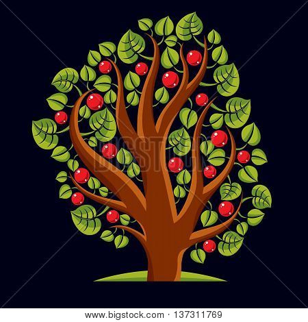Tree With Ripe Apples, Harvest Season Theme Illustration. Fruitfulness And Fertility Idea Symbolic I
