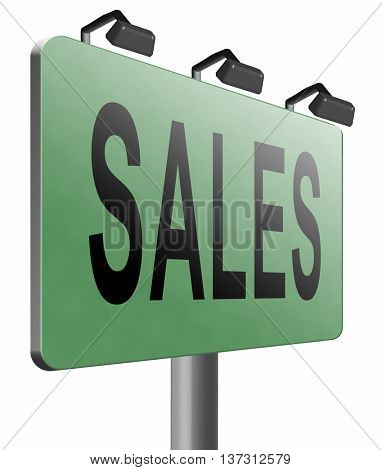 sales online shopping concept with discount web shop bargain cheap order at webshop sale road sign billboard, 3D illustration, isolated on white