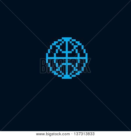 Vector pixel icon isolated 8bit graphic element. Simple Earth globe sign globalization idea.