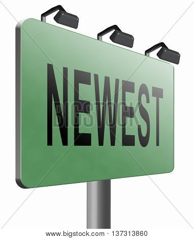 newest best or latest model hot news headlines button or icon with text and word concept , 3D illustration, isolated, on white