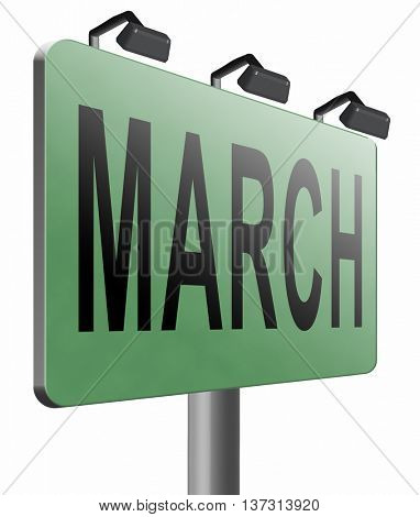 March to next month of the year early spring event calendar, road sign billboard, 3D illustration, isolated, on white