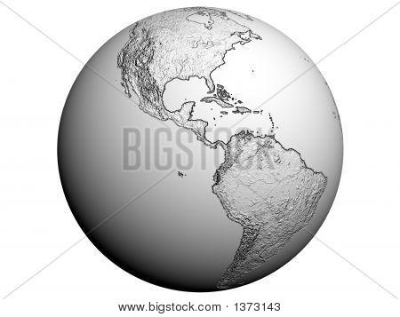 America On An Earth Globe
