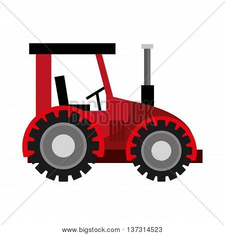 Red farm tractor with big wheels, vector illustration graphic design.