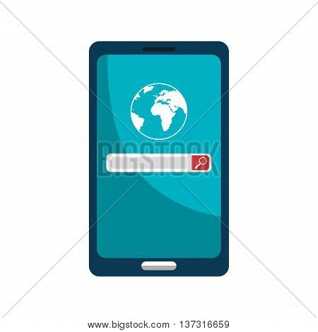 Smartphone using SEO online, isolated icon graphic design vector illustration.