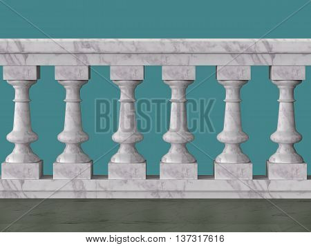 vintage balustrade decorative railing made of wood stone and metal isolated high quality 3d render