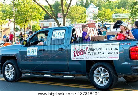 SOUTH ST. PAUL, MINNESOTA - JUNE 24, 2016: Motorcade of local Senate District 52 candidates at annual South St. Paul Kaposia Days Grande Parade on June 24