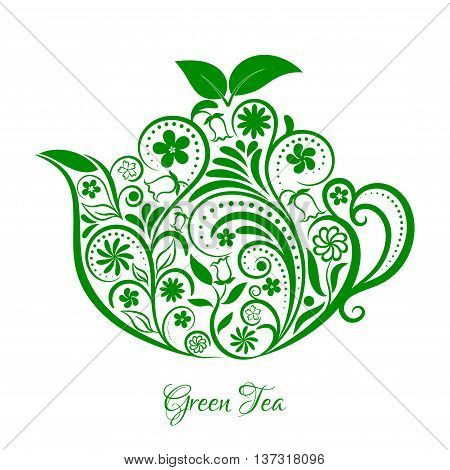 Vector Floral Green Ornamental Teapot Over White. Zen art teapot style. Element for menu, cafe, restaurant, bar and tea house designs. Green teapot flower design