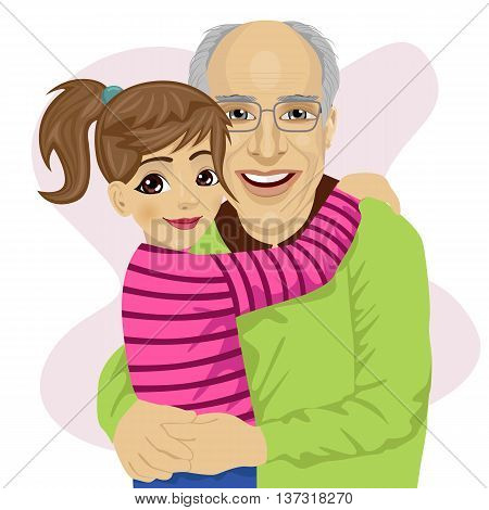 Grandfather hugging her cute granddaughter isolated on white background