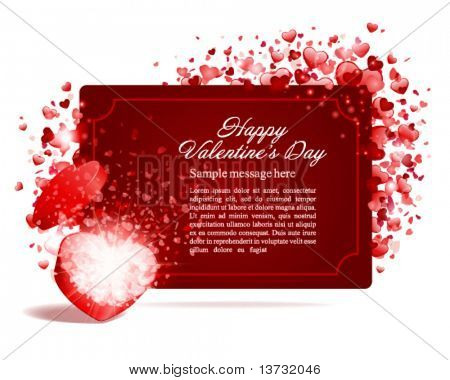 Valentine's day vector background with open gift